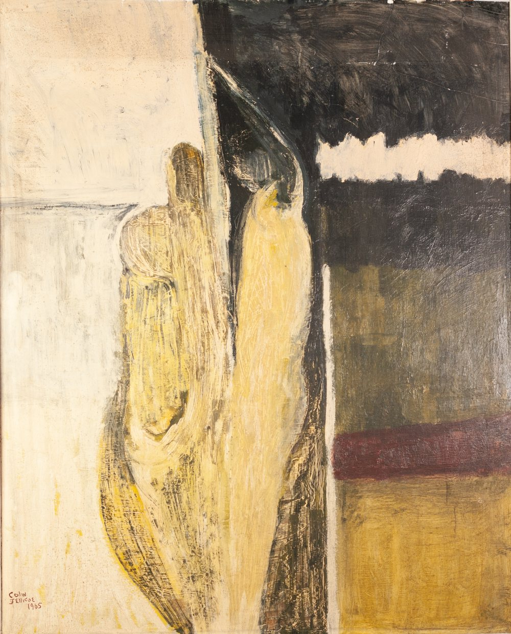 "Lot 3 - COLIN JELLICOE (1942 - 2018) OIL PAINTING ON BOARD 'Two Figures' Signed and dated 1965 32"" x 26"" ("