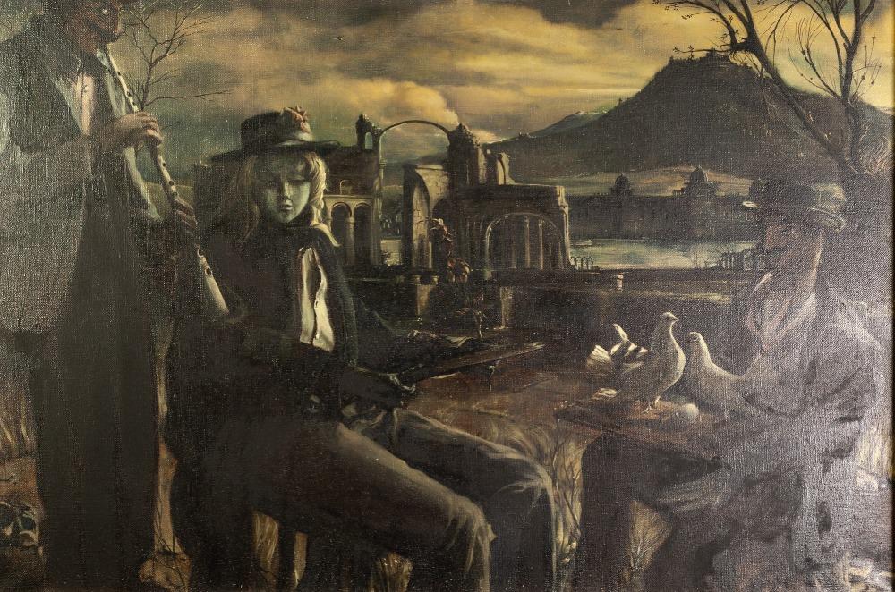 "Lot 36 - BOHUSLAV BARLOW (1947) OIL PAINTING ON CANVAS 'Doppleganger Green' Labelled verso 20"" x 30"" (51 x"