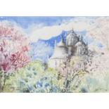 KENNETH LAWSON (1920 - 2008) WATERCOLOUR AND WAX 'Fantasy with Blossom and Bright Cloud, Tavira,