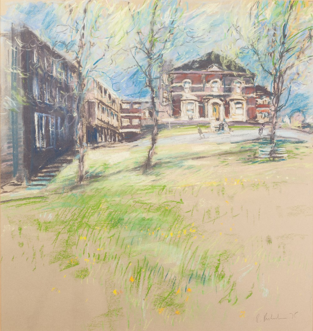 """Lot 113 - •BOB RICHARDSON (1938) PASTEL DRAWING 'Buildings, Salford' Signed lower right 17 1/2"""" x 16 1/2"""" ("""