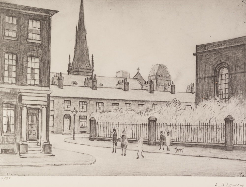 Lot 89 - •L.S. LOWRY (1887 - 1976) ARTIST SIGNED LIMITED EDITION PRINT OF A PENCIL DRAWING 'St Philips
