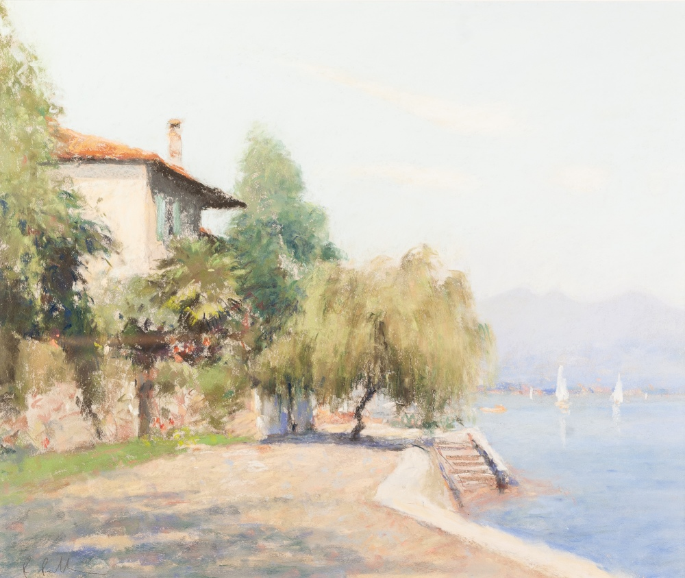"""Lot 111 - •BOB RICHARDSON (1938) PASTEL DRAWING 'A Villa on the Island in Lake Maggiore' Signed lower left 15"""""""