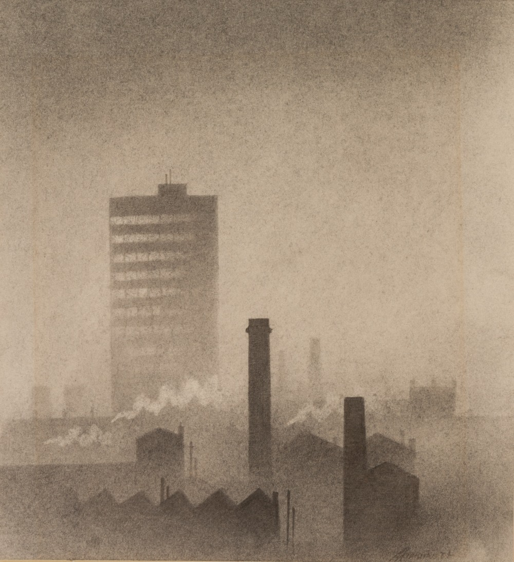 Lot 61 - •TREVOR GRIMSHAW (1947 - 2001) PENCIL DRAWING 'Industrial townscape with tower block Signed and
