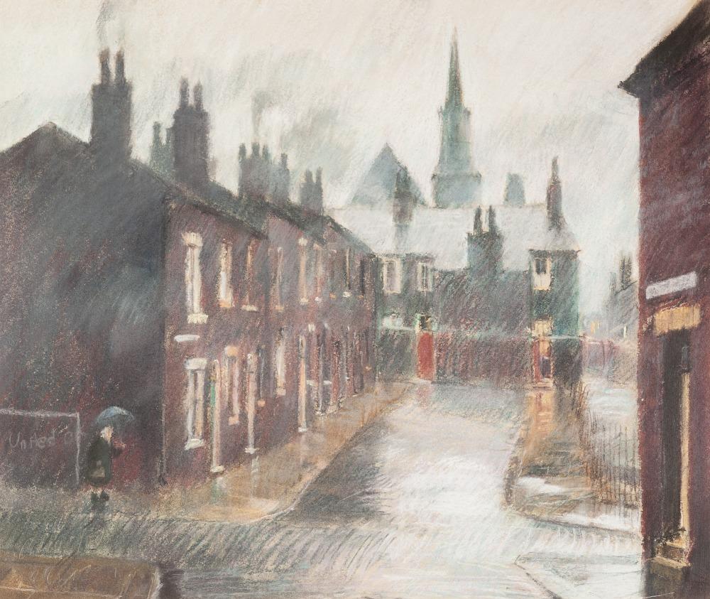 Lot 108 - •BOB RICHARDSON (b. 1938) PASTEL DRAWING Lancashire street scene with terraced houses on a rainy day