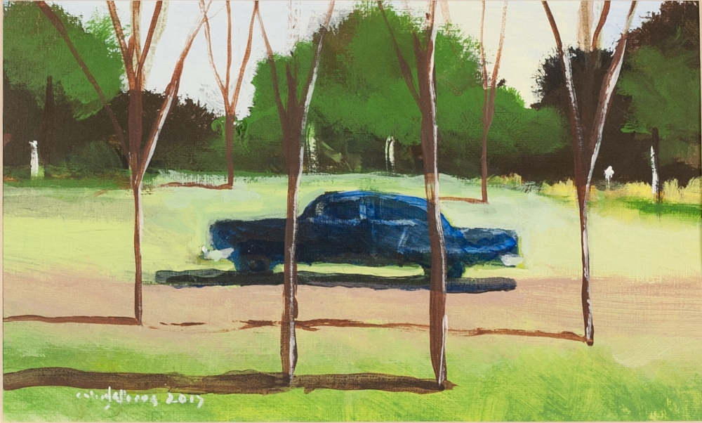 """COLIN JELLICOE (1942 - 2018) ACRYLIC ON PAPER 'Sun Car' Signed and dated 2017 lower left 6"""" x 10"""" ("""