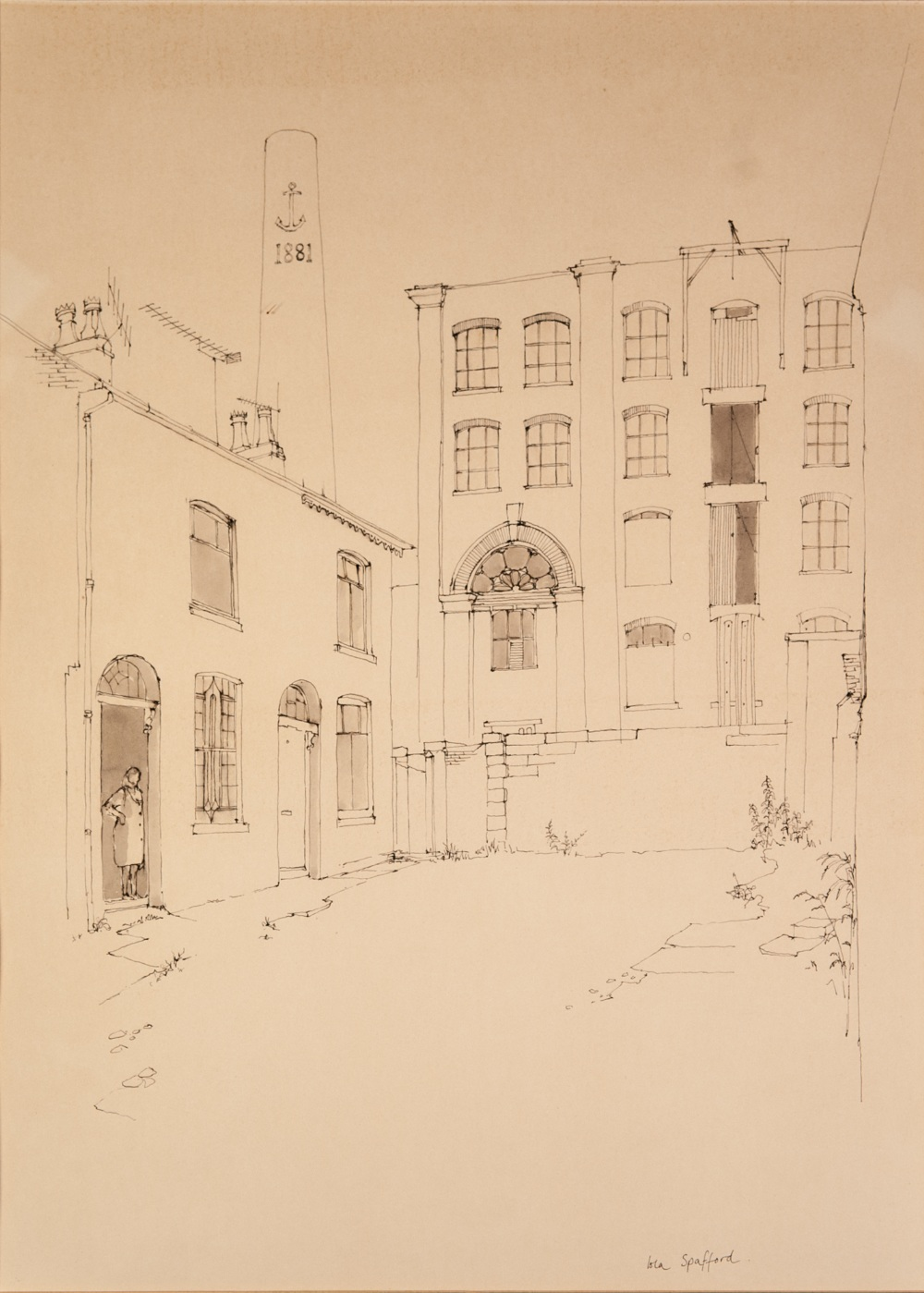 """Lot 150 - IOLA SPAFFORD PENCIL AND WASH DRAWING 'Anchor Mill, Westwood, Oldham' Signed lower right 19"""" x 13"""