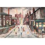 BERNARD McMULLEN (1952 - 2015) PASTEL DRAWING Northern street scene with children at play Signed