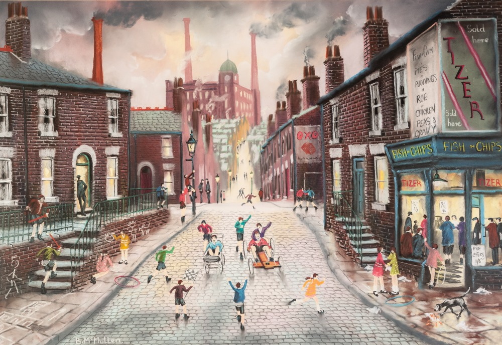 Lot 99 - BERNARD McMULLEN (1952 - 2015) PASTEL DRAWING Northern street scene with children at play Signed