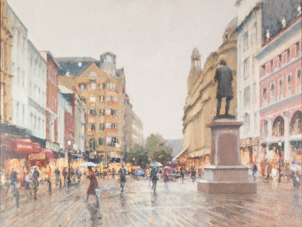 Lot 109 - •BOB RICHARDSON (b. 1938) PASTEL DRAWING St Anns Square, Manchester, on a rainy day Signed lower