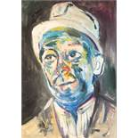 "•LAWRENCE ISHERWOOD (1917 - 1989) OIL PAINTING ON BOARD Bust portrait of a miner Signed 21"" x 14 1/"