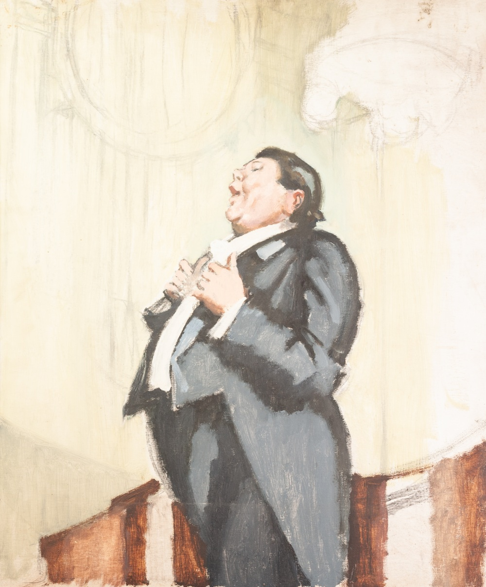 """Lot 139 - HARRY RUTHERFORD (1903 - 1985) OIL PAINTING ON PANEL 'Opera Singer' 24"""" x 20"""" (61 x 51cm) ("""