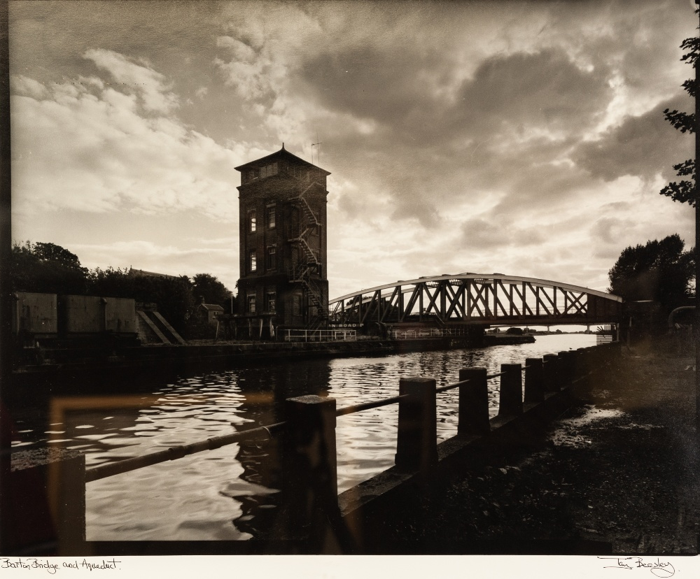 IAN BEESLEY THREE ARTIST SIGNED LARGE FORMAT BLACK AND WHITE PHOTOGRAPHS 'Barton Bridge & Aquaduct'; - Image 3 of 3