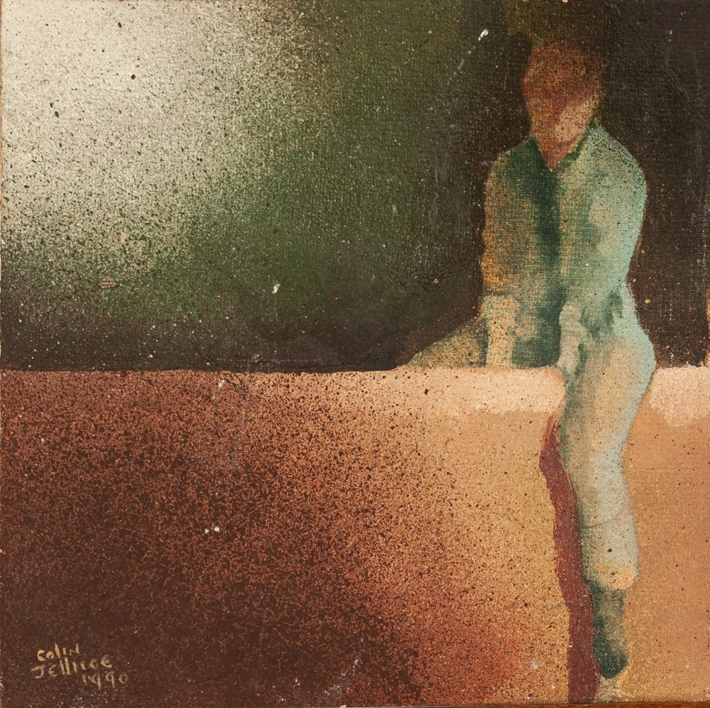 Lot 25 - COLIN JELLICOE (1942 - 2018) OIL PAINTING ON BOARD 'Jackie astride a wall' Signed and dated 1990