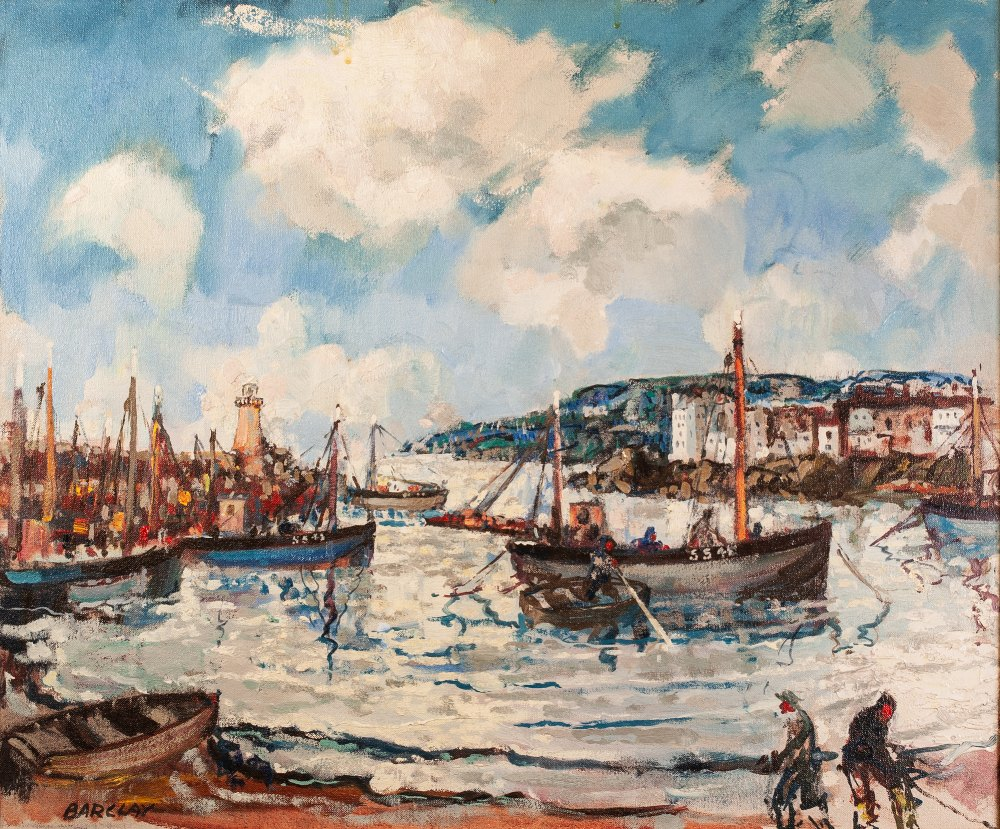 "BARCLAY (MODERN) OIL PAINTING ON CANVAS A harbour scene with fishing boats Signed lower left 20"" x"