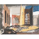 •JOHN PIPER (1903 - 1992) MACHINE WOVEN SILK TAPESTRY 'Interior of Coventry Cathedral' An edition of