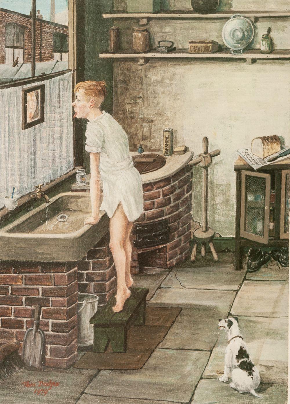 TOM DODSON (1910 - 1991) ARTIST SIGNED COLOUR PRINT 'Boy at kitchen sink' Blind stamped and signed