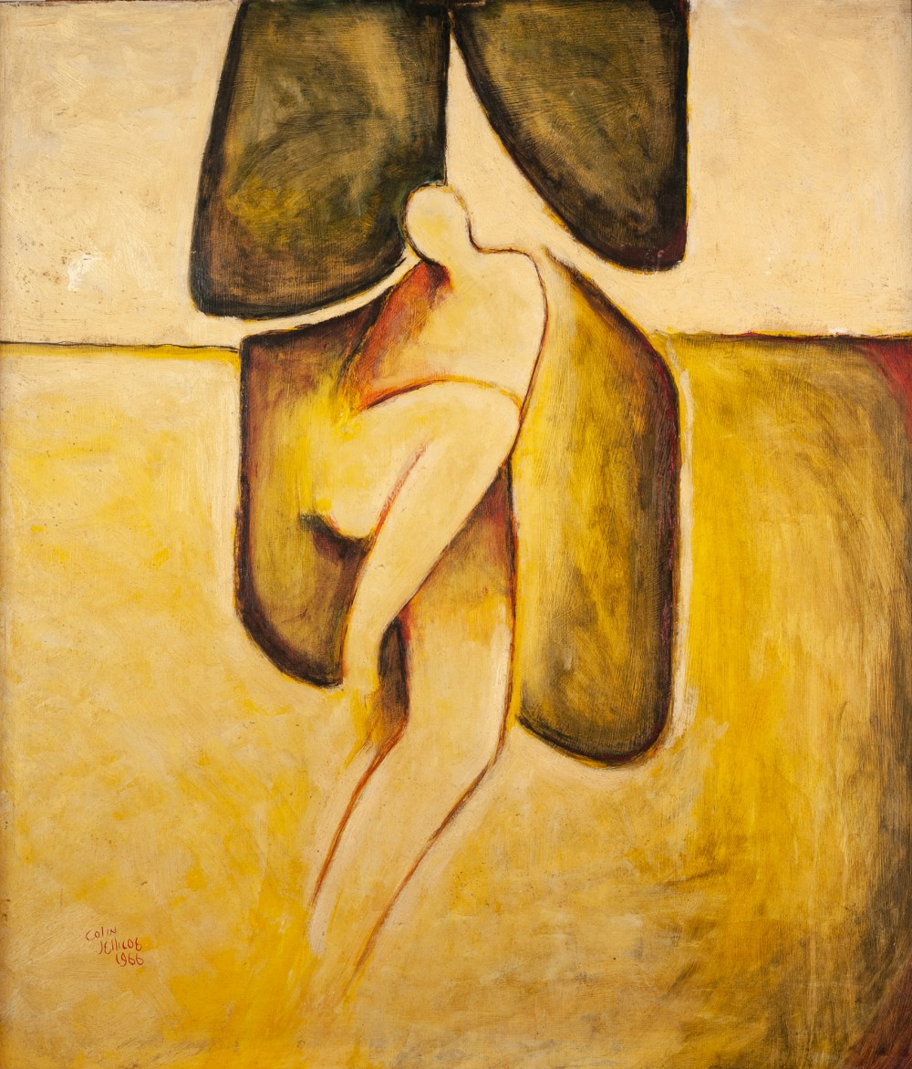 COLIN JELLICOE (1942 - 2018) OIL PAINTING ON BOARD Reclining nude Signed and dated 1966 lower left