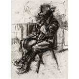 "IAN NORRIS CHARCOAL DRAWING 'Ewan - Study 2', man seated Signed and titled verso 22"" x 16"" (55.8 x"