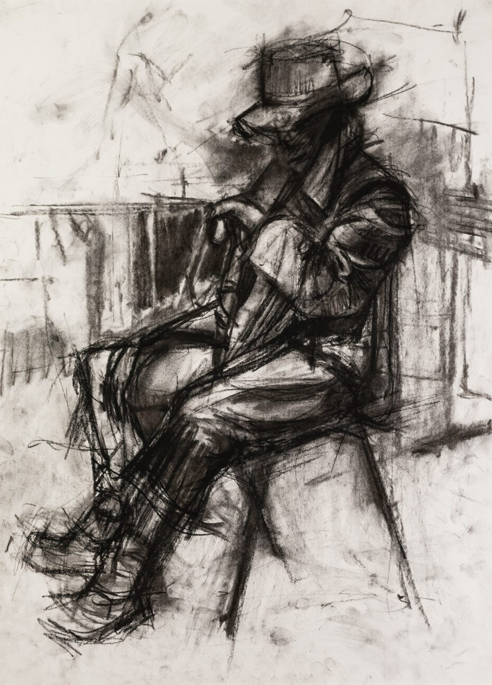 """Lot 100 - IAN NORRIS CHARCOAL DRAWING 'Ewan - Study 2', man seated Signed and titled verso 22"""" x 16"""" (55.8 x"""