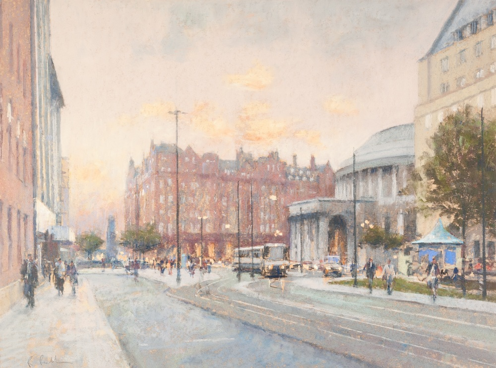 Lot 110 - •BOB RICHARDSON (b. 1938) PASTEL DRAWING St Peters Square, Manchester and the Central Library at