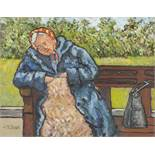 CHARLES M. JONES (1923-2008) OIL PAINTING ON BOARD Old woman asleep on a park bench, Signed lower
