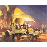 •BOB RICHARDSON (1938) PASTEL DRAWING Continental hotel exterior with band playing under an awning