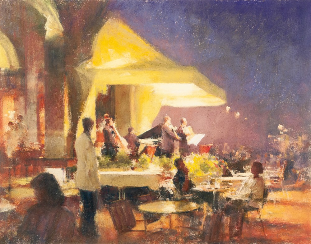 Lot 112 - •BOB RICHARDSON (1938) PASTEL DRAWING Continental hotel exterior with band playing under an awning