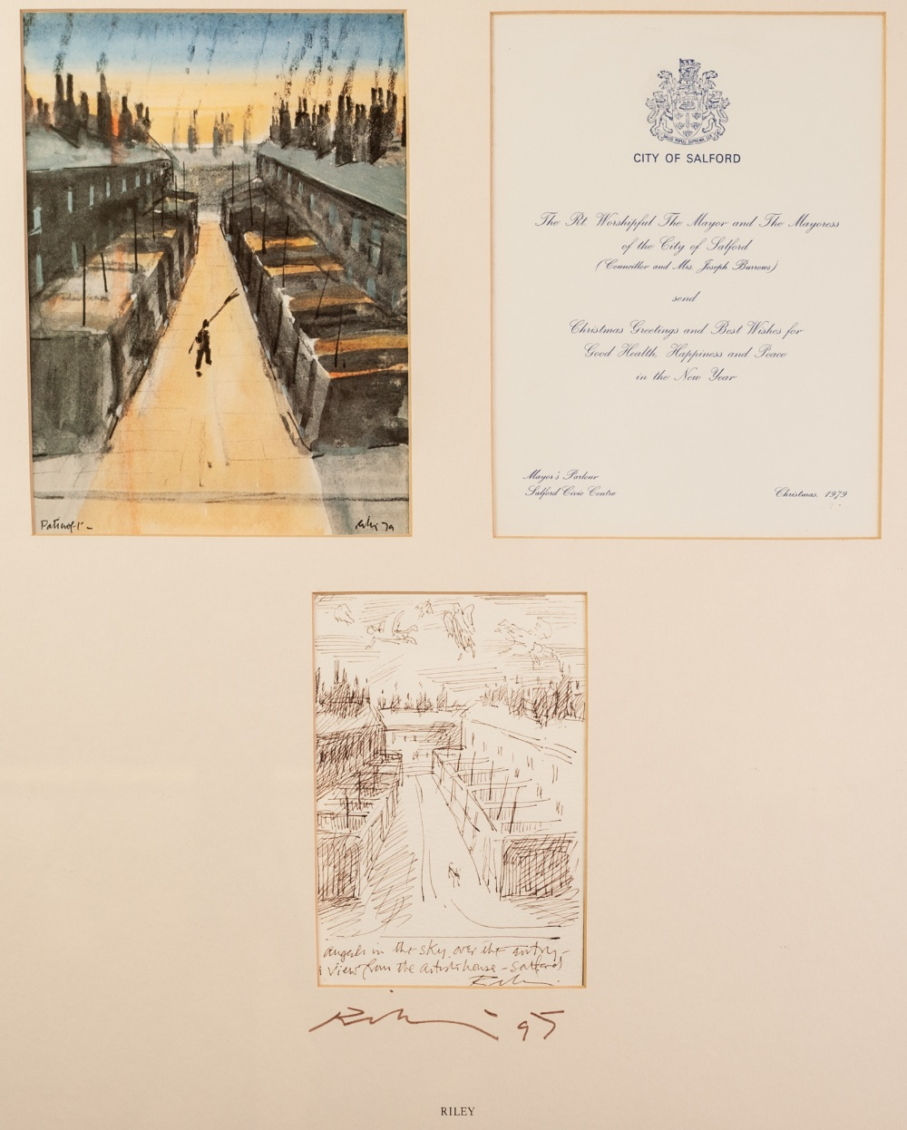 Lot 129 - •HAROLD RILEY (1934) THREE PRINTS OF A CHRISTMAS CARD DESIGN FOR THE MAYOR AND MAYORESS OF SALFORD