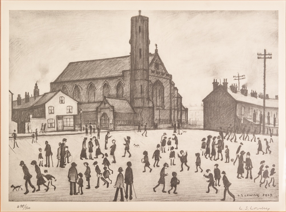 Lot 93 - •L.S. LOWRY (1887 - 1976) ARTIST SIGNED LIMITED EDITION PRINT OF A PENCIL DRAWING 'St Marys,