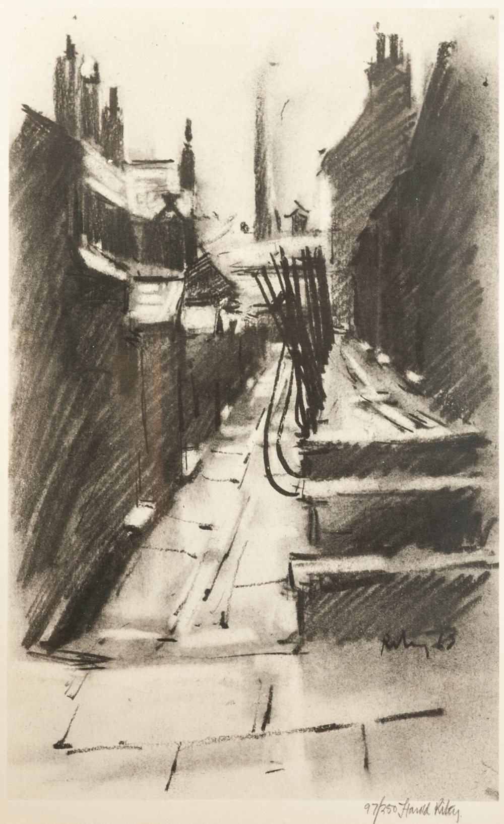 Lot 128 - •HAROLD RILEY (1934) ARTIST SIGNED LIMITED EDITION PRINT OF A CHARCOAL DRAWING 'Back Alley' Signed