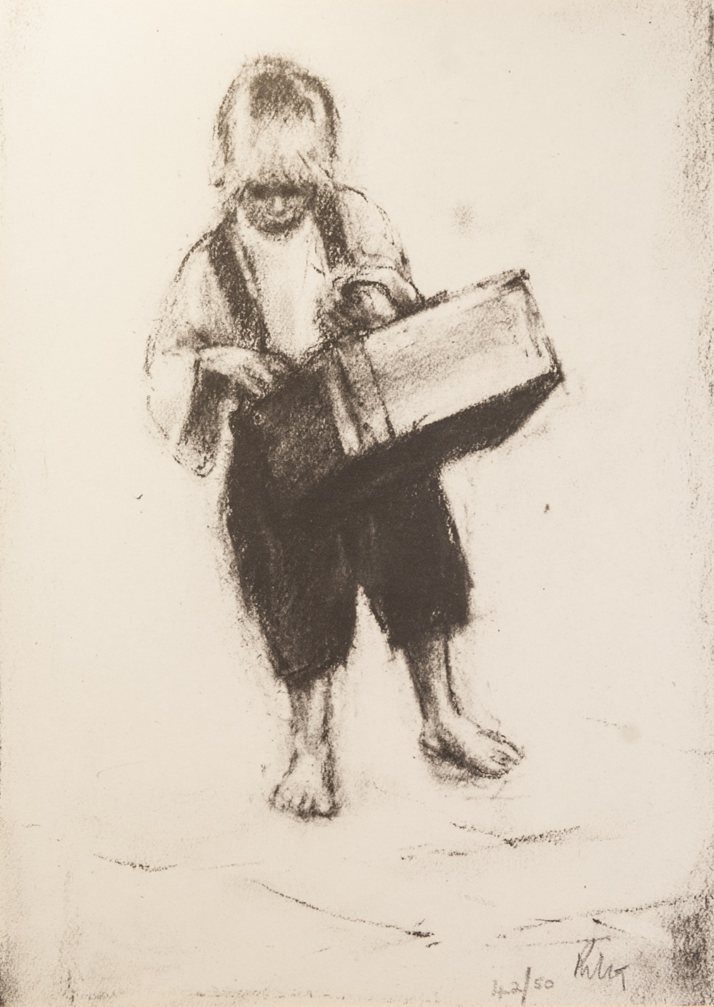 Lot 133 - •HAROLD RILEY (1934) ARTIST SIGNED LIMITED EDITION PRINT OF A CHARCOAL DRAWING Barefoot boy with a