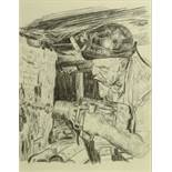 "ROGER HAMPSON (1925-1996) PENCIL DRAWING Miner operating a drill at the coal face 9 1/2"" x 7 1/4"" ("
