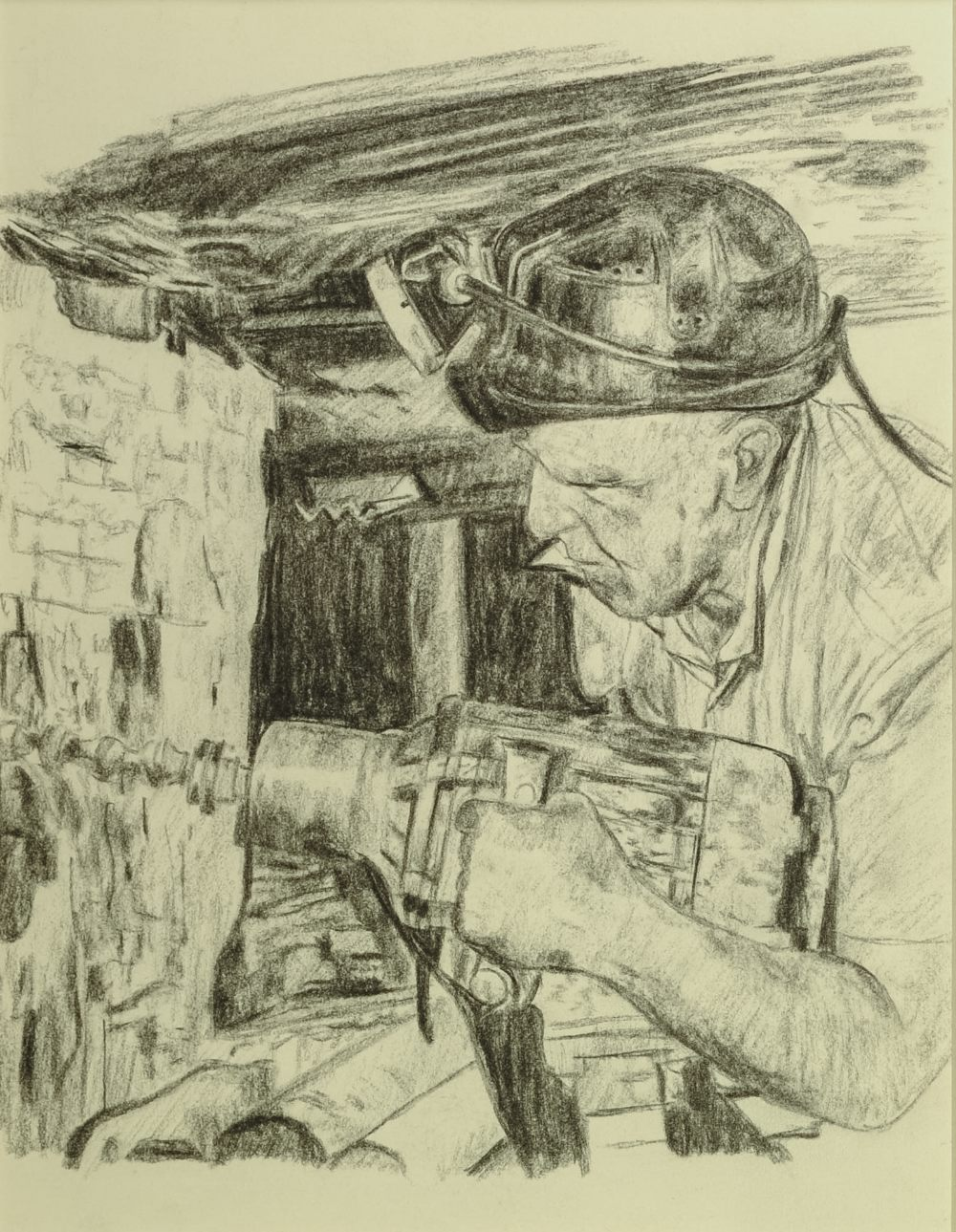 """Lot 68 - ROGER HAMPSON (1925-1996) PENCIL DRAWING Miner operating a drill at the coal face 9 1/2"""" x 7 1/4"""" ("""