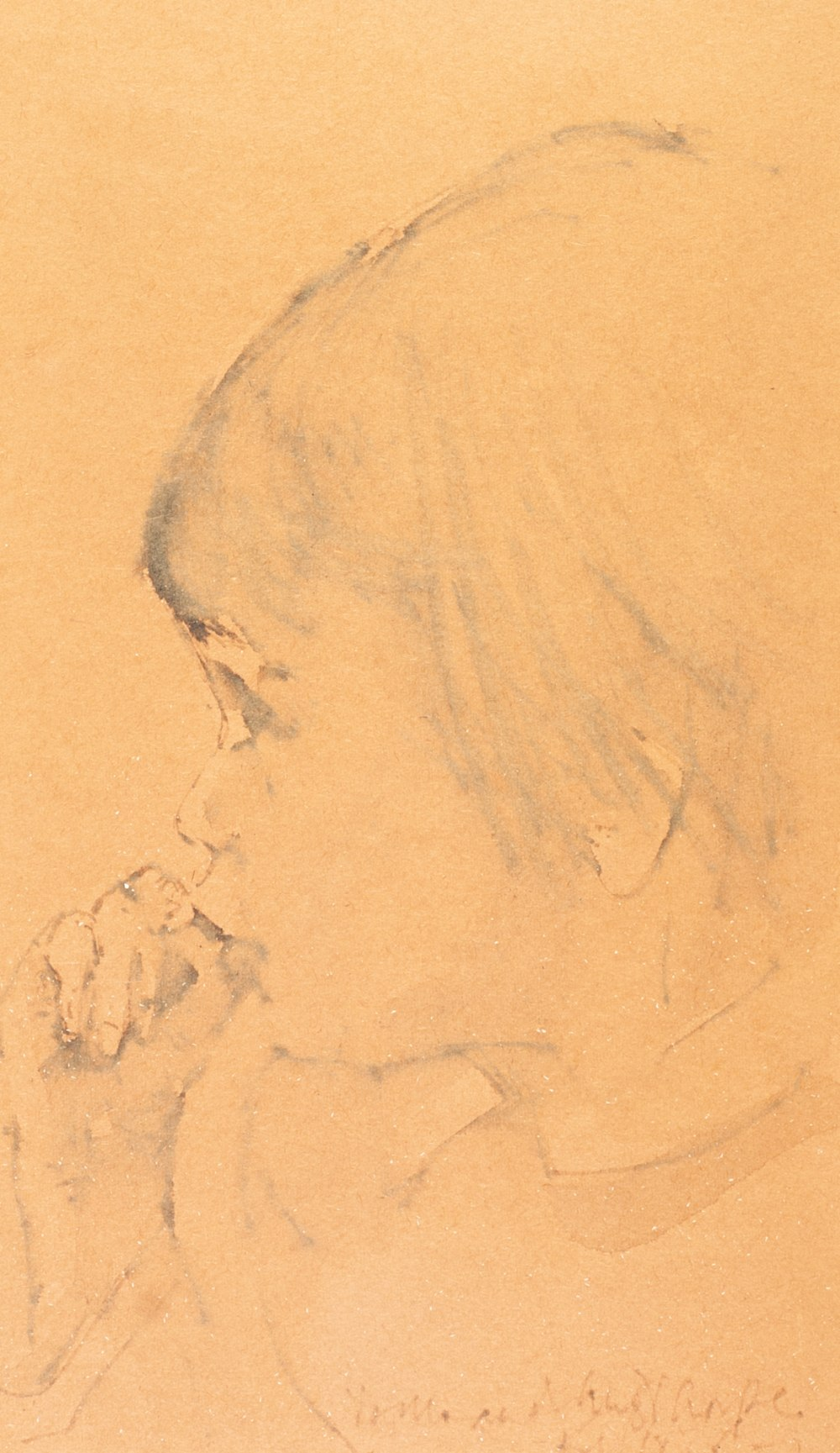 Lot 120 - •HAROLD RILEY (1934) PENCIL DRAWING ON BUFF PAPER Head of a young girl sucking her thumb,