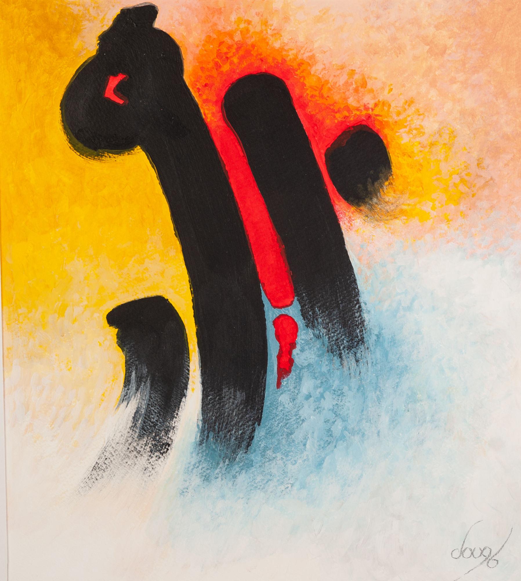 DOUG BROADHURST PAIR OF ACRYLICS ON PAPER 'Out of the Mist' and 'Brush Strokes' Signed, titled and - Image 2 of 2