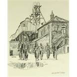 "ROGER HAMPSON (1925-1996) PENCIL DRAWING 'Garswood Hall Colliery' 9 1/2"" x 8"" (24cm x 20.25cm) ("