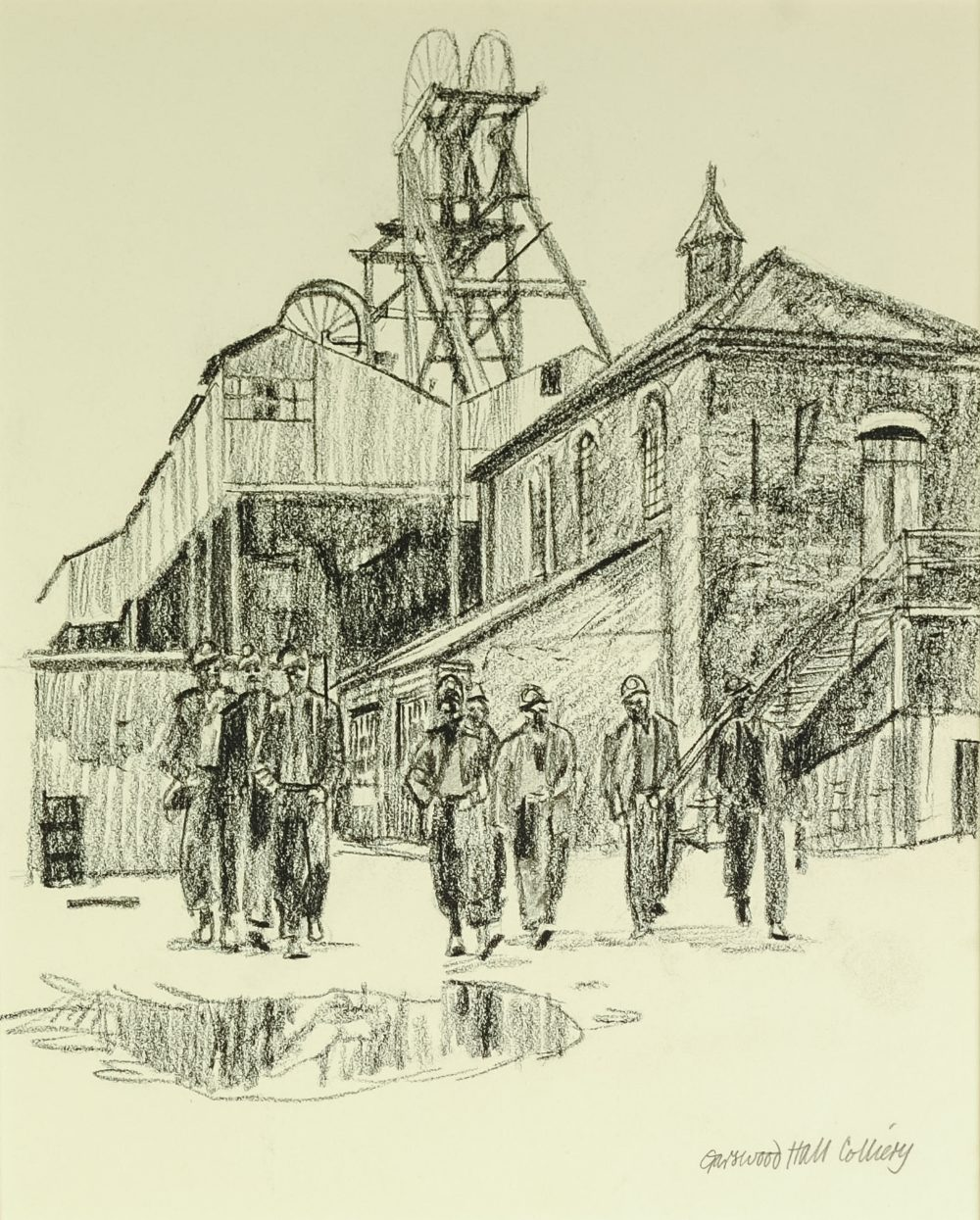 """Lot 67 - ROGER HAMPSON (1925-1996) PENCIL DRAWING 'Garswood Hall Colliery' 9 1/2"""" x 8"""" (24cm x 20.25cm) ("""