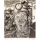 ROGER HAMPSON (1925 - 1996) LINO CUT 'Coal Miner III' Signed, titled and numbered 3/10 in pencil