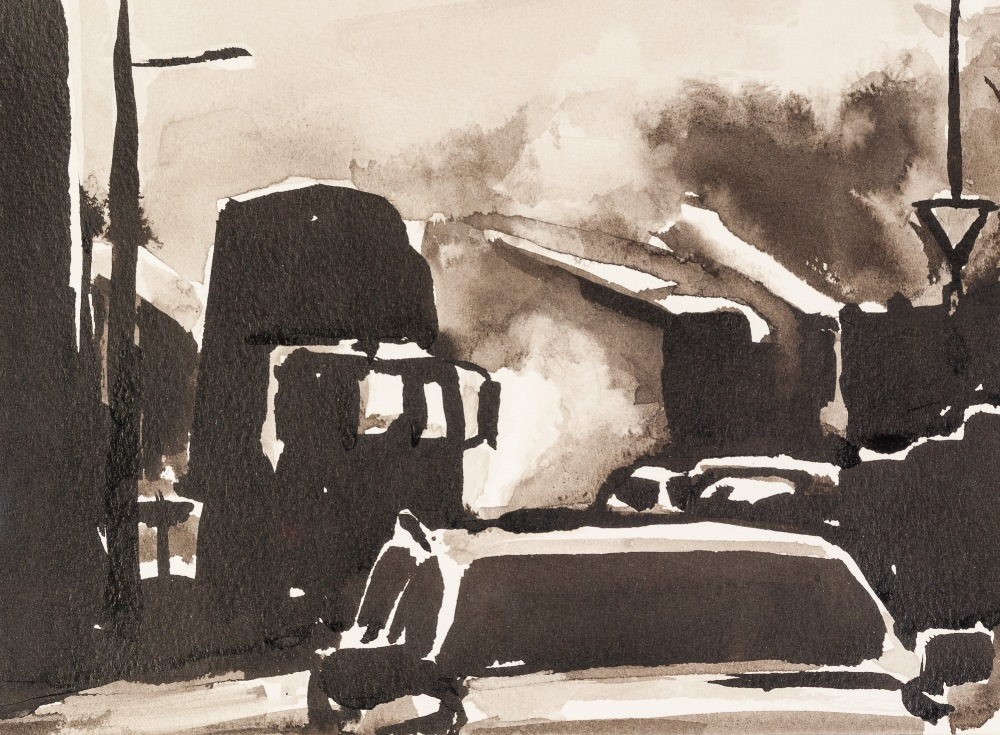 Lot 151 - •LIAM SPENCER (1964) MONOCHROME INK WASH DRAWING 'Road Works' Signed, titled and dated 2007, verso 7