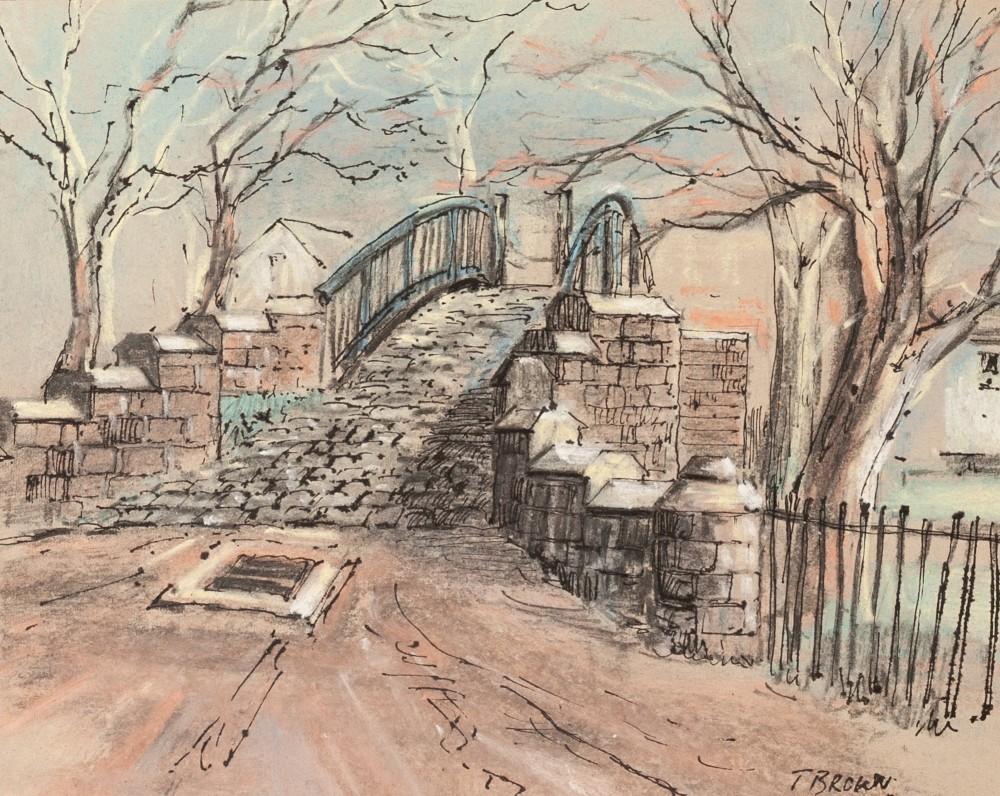 TOM BROWN (b. 1933) PEN AND BLACK INK AND PASTEL 'Bridge over Bridgewater Canal, Worsley,