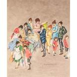 ELIZABETH R. HUNT PASTEL DRAWING ON BUFF PAPER Figures crowding round a jumble sale stall Signed and