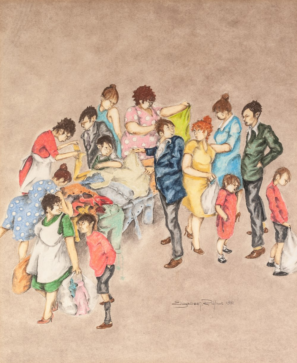 Lot 72 - ELIZABETH R. HUNT PASTEL DRAWING ON BUFF PAPER Figures crowding round a jumble sale stall Signed and
