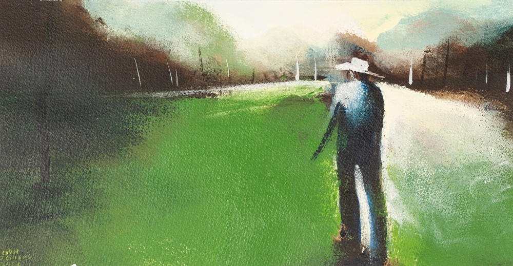 COLIN JELLICOE (1942 - 2018) ACRYLIC ON PAPER 'C.J. on Rainbow Valley Field' Signed and dated 2006