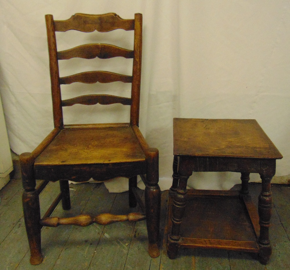 Lot 43 - An early 18th century fruitwood and elm ladder-back chair with solid seat and a oak rectangular side