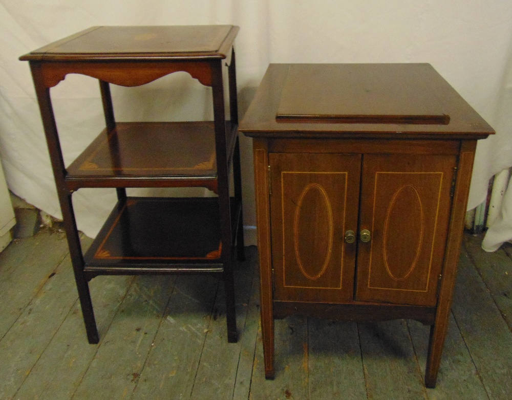 Lot 31 - An Edwardian rectangular mahogany inlaid bedside cabinet and a three tier rectangular mahogany
