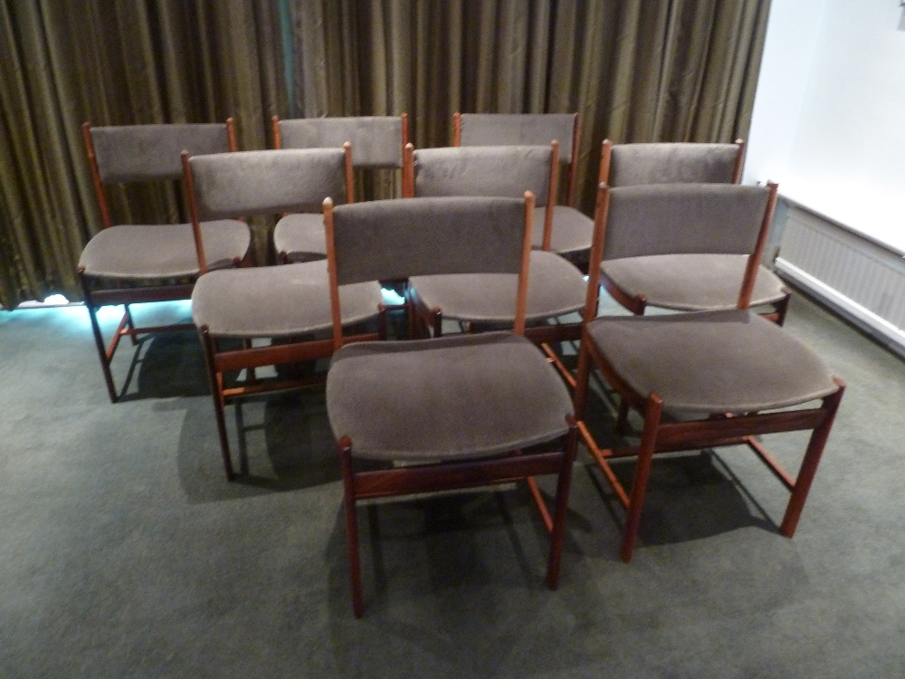 Lot 35 - A set of eight rosewood upholstered dining chairs, CITES certificate included