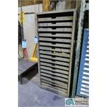 17-DRAWER WOOD VIDMAR STYLE TOOLING CABINET AND CONTENTS LOADED WITH CARBIDE AND STEEL END MILLS,