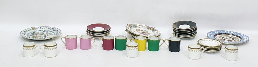 Lot 45A - Noritake set of seven coffee cans and saucers in 'Harlequin' colours, extra saucers, a pair of