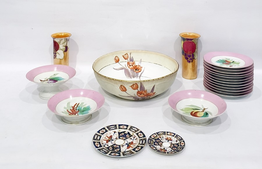Lot 39 - Late Victorian dessert servicecomprising three comports and 12 plates painted with fruit within