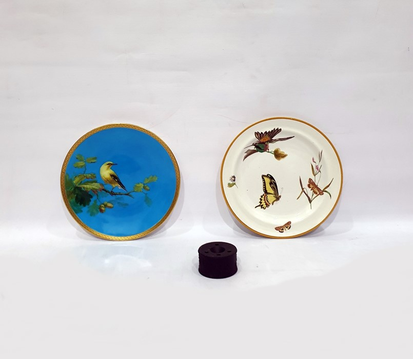 Lot 56 - Victorian Minton cabinet plate painted with a bird on an oak branch, on a turquoise ground, 24cm